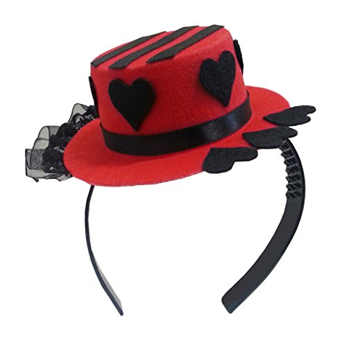 Red Mini Top Hat Headband Mad Hatter Tea Party Alice in Wonderland Black Heart (Mad Hatter Alice In Wonderland Costume)