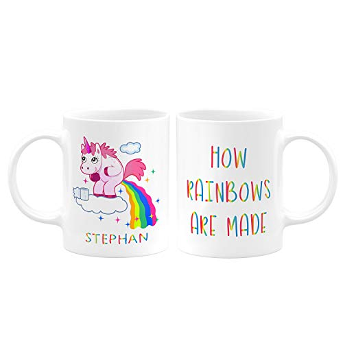 Pooping Farting Unicorn PRIDE Personalized Coffee Mugs with Name FREE CUSTOMIZATION-Christmas Gifts, Birthday Gifts, Party Favors - How Rainbows Are Made - D3