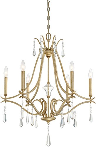 Minka Lavery 4446-582 Laurel Estate Crystal Chandelier Lighting, 6-Light 360 Watts, Brio Gold