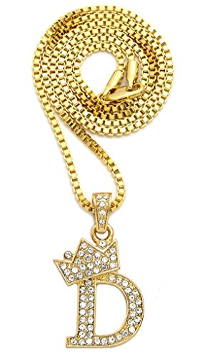- Crown Iced Out King Small Initial Letter Pendant with 24
