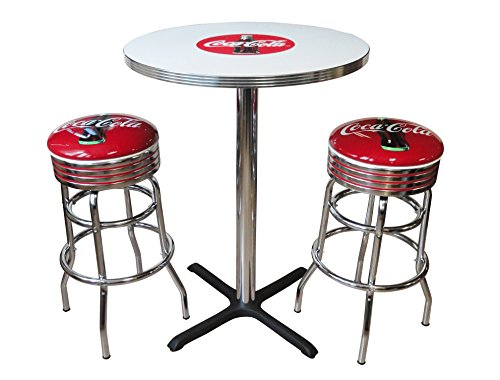 Vitro Seating Products CCTS Coca-Cola Dinette Furniture Set with 30'' Pub Table and 2 Bullseye Stool Set, Red and White (Pack of 3) by Vitro Seating Products