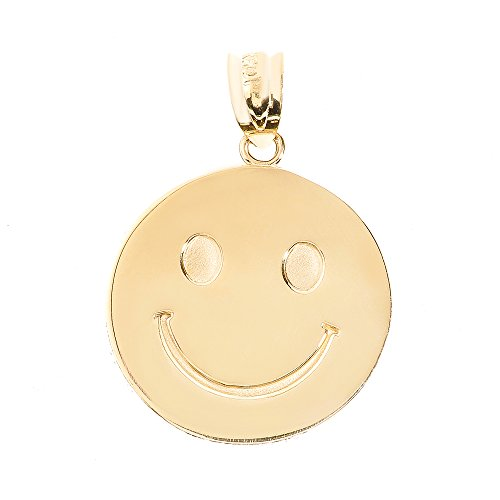 Disc Pendants and Necklaces 10k Solid Yellow Gold Smiley Face Pendant ()