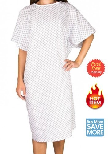2 NEW MEDICAL EXAM ECONOMY PATIENT GOWNS SNOWFLAKES HOSPITAL WHITE BLEACH SAFE (Tie Gown Patient)