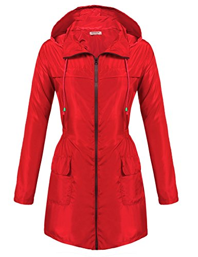 HOTOUCH Fashion Woman Front-Zip Lightweight Rain Jacket with Hideaway Hood red S ()