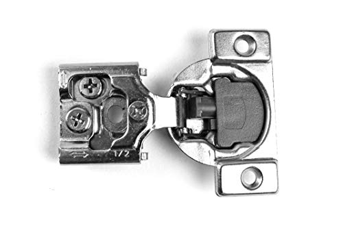 (50 Pack Berta Face Frame Compact Contractors Grade Hinge with Soft Close Feature, 6-Ways 3-cam Adjustment, 1/2 inch Overlay Concealed Cabinet Door Hinges with Built-in Soft Close - 105 Degree)