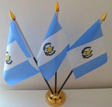 Flag Co Guatemala Guatamalan 3 Flag Desktop Table Display With Gold Base