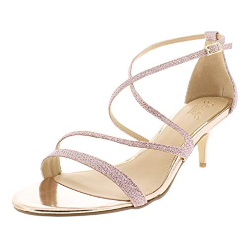 Badgley Mischka Jewel Women's GAL Heeled Sandal, Rose Gold, 7 Medium - Jewel Sandals Metallic