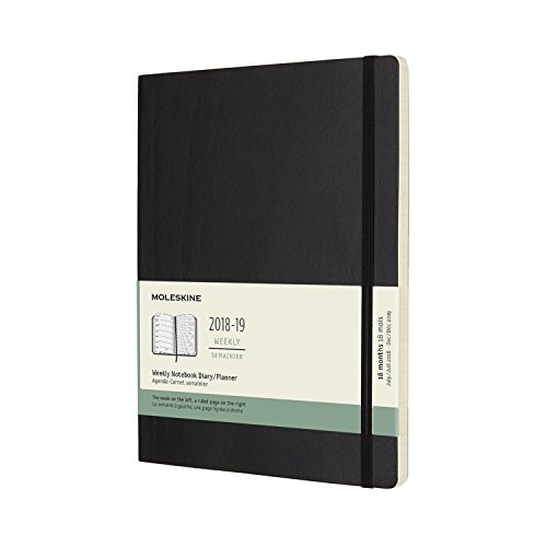 Moleskine 2018-2019 18M Weekly Notebook, Extra Large, Weekly Notebook, Black, Soft Cover (7.5 x 9.75)