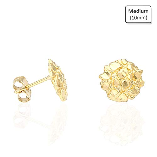 - 10K Solid Yellow Gold Round Nugget Pushback Stud Earrings, Medium