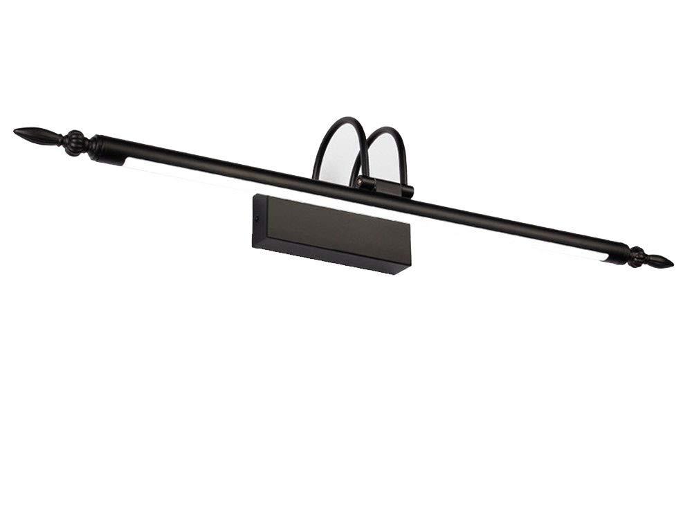 Europäische Retro- Spiegelfrontlampenbadezimmer führte amerikanische Spiegellampe Badezimmertoilettenspiegelkabinettlicht einfache Make-uplampen, schwarzes weißes Licht, 56cm 9W