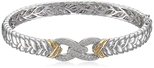 Gold Bangle Diamond Yellow (Sterling Silver 14k Yellow Gold Diamond Braided Infinity Bangle Bracelet (1/4cttw, I-J Color, I2-I3 Clarity), 2.75