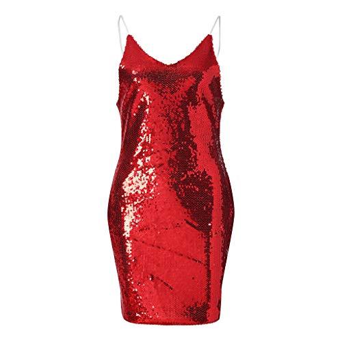 V Sans Couleur Mini Amlaiworld Sexy Slim Collier Parti Robe Chic Rouge Profonde Paillettes Cocktail Brilliant Unie Dress Club Manches Charmant Femmes XBrB5a8qwx