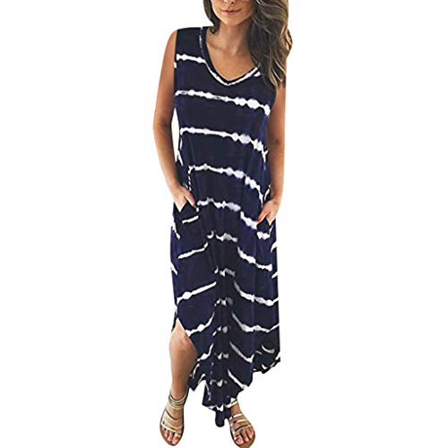 33a5a9fa7005 TUSANG Women's Skirt Casual Loose Fit Comfy Striped Sleeveless Pocket Split  Irregular Hem Long Beach Dress
