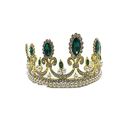 Maxmaxi Holiday Jewelry accessories Adult Royal Queen Crown Girls Diamond Rrown Luxury Wedding Dress accessories (Green)