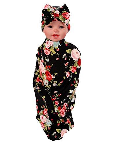 Ufraky Newborn Baby Blanket Swaddle Sleeping Bag Baby Flower Hat Receiving Blankets (Style 2)