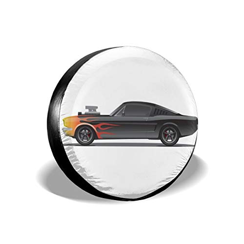 ErwangGo Tire Cover Wheel Covers,Custom Design Muscle Car With Supercharger And Flames Roadster Retro Styled,for SUV Truck Camper Travel Trailer Accessories(14,15,16,17 Inch) 15: