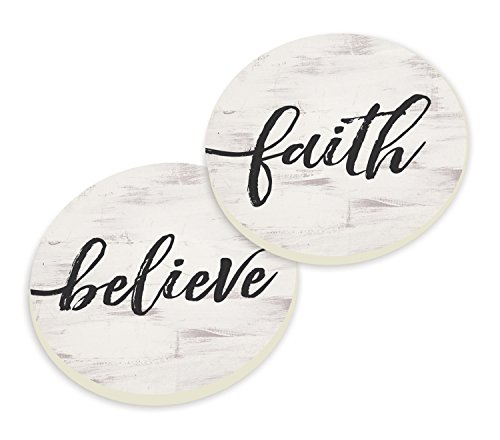 Faith Believe Script Design White Set of 2 Ceramic Car Coaster Pack by P Graham Dunn