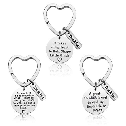 Best Teacher Gift - Teacher Appreciation Gift - 3PCS Teacher Keychain Set for Women Thank You Gifts for Teachers Birthday Valentine's Day Christmas Gifts for Teachers (Thank-You)