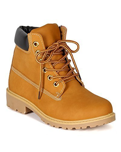 Nature Breeze Womens Terrain Leatherette Multi Color Padded Collar Hard Toe Boot - Wheat,Wheat,8