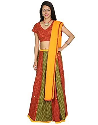 Cotton Lehenga Choli Printed patchwork Indian Traditional Dress By Rajrang