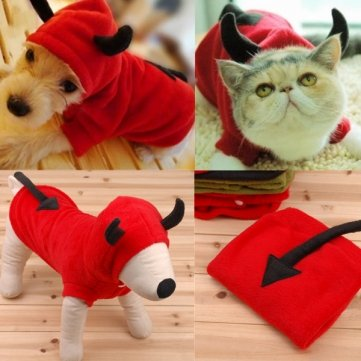 UR Dog Costumes Pet Dog Cat Fancy Devil Costumes Puppy Coat Hoodie Jumpsuit M - Devil Costume For Dogs