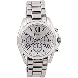 Geneva watches Silver Tone Classic Round Men's Watch. Faux Chronograph Design. Metal Link Band