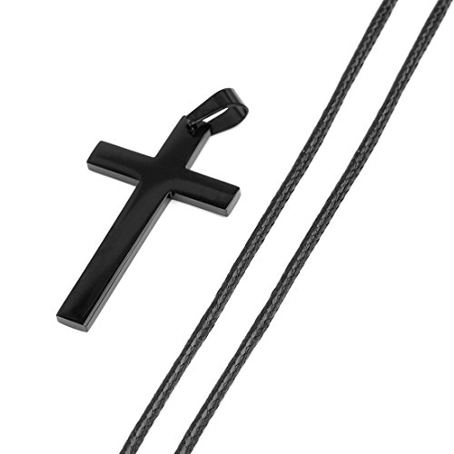 Ckysee Jewelry Leather Rope Chain Stainless Steel Black Cross Pendant Necklace for Men or Women
