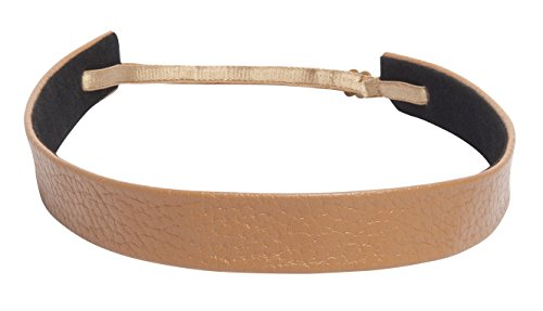 Camel Pebbled - 1907 Pebbled Leather Wide Headband, NHH029