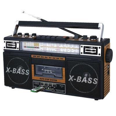 - Qfx J-22u-brn Retro Collection Boom Box Wood with Am/fm/Sw-1 - Sw2 4-Band Radio and Cassette to Mp3 Converter