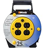 Woods 4907 25-Foot Extension Cord Reel with 4-Outlets 16/3 SJTW and 12A Circuit Breaker