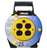 Woods 4907 Extension Cord Reel with 4-Outlets 16/3 SJTW and 12A Circuit Breaker, 25-Foot