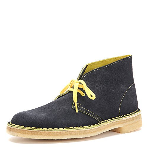 CLARKS Men's Desert Boot Suede Boots 61274 Black/Yellow (Clarks Shoe Outlets)