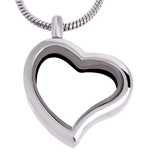 RUBYCA Living Memory Heart Locket Snake Chain Necklace Crystal Floating Charm DIY Silver Tone 10Pcs