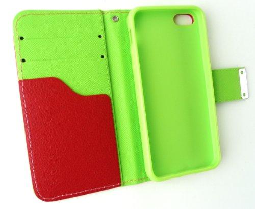 Emartbuy® Apple Iphone 5 Luxus-Desktop-Ständer Wallet Fall / Abdeckung / Pouch Blocks Rosa / Gelb / Weiß Mit Kreditkarte Slots