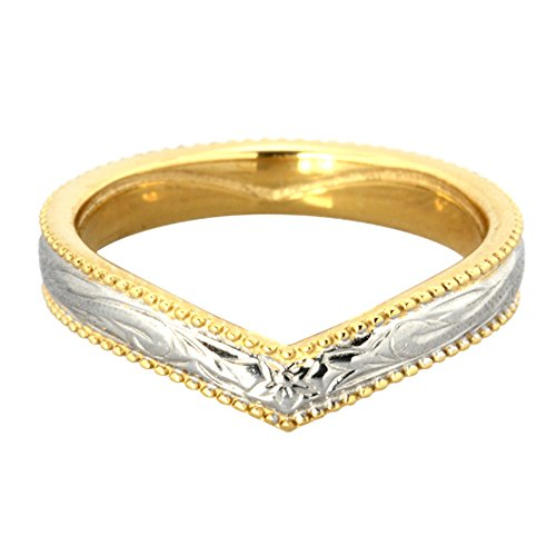Heart Ring By Austaras - Hawaiian Wedding Band Rings Engraved with Hibiscus Flower - Stainless Steel and 14K Gold Engagement Wedding Finger Ring Hypoallergenic Jewelry Size 7.5