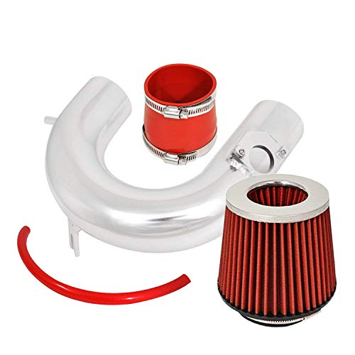 For 2000-2005 Toyota Celica (GTS Model Only) Aluminum High Flow Cold Air Intake System Polish Pipe with Air Filter Red