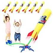 #LightningDeal Duckura Jump Rocket Launchers for Kids, Outdoor Rocket Toys with Launcher and 6 Foam Rockets, Easter Basket Stuffer Fillers for Boys Girls Toddlers Ages 3 4 5 6 and Up
