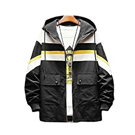 Men's  Contrast Color Hooded Bomber Jackets Coat