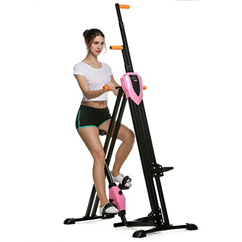 Pink Elliptical - Flyerstoy Vertical Climber Cardio Exercise - Folding Exercise Climbing Machine,Total Body Workout Climber Machine for Home Gym, Exercise Bike for Home Body Trainer (Pink)