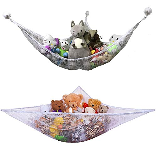 Jumbo Toy Hammock for Stuffed Animals, 59 inch Extra Large Mesh Toy Hammock 2 Pack, Small Hanging Bathtub Storage Net Organizer, Durable Mesh Toy Organizers for Kids