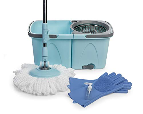 SoftSpin Spin Mop and Bucket - 2 Stage Floor Mop System with Built-in Detergent Dispenser Separates Clean and Dirty Water to Get Floors Cleaner (Blue) (Built In Detergent Dispenser)