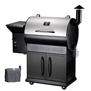 Z GRILLS Pellet Grill Outdoor BBQ Smoker 2019 New Model Heavy Duty Stainless Steel Lid, 700 sq in Cooking Area,6 in 1 Grill(Full Cover Gift)