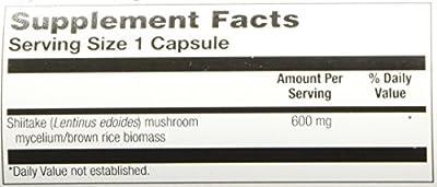 Solaray Shiitake Mushroom Capsules, 600 mg, 100 Count