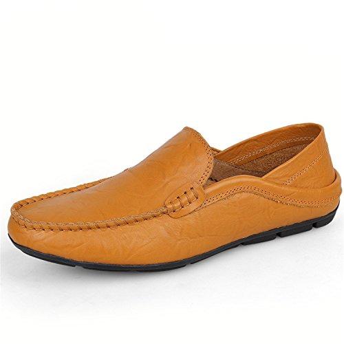 Mocasines de Cuero Zapatos Hombres Zapatos Planos Casuales Genuino Zapatos Mocasines para Botia Amarillo Mocasines wqzEt8Xxn