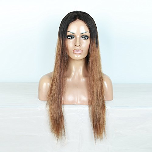 Lwigs 100% Human Hair Straight 360 lace Frontal wig Brazilian Hair Ombre Black Roots 1B 30 Color (18inch, 150%density)