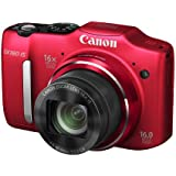 Canon PowerShot SX160 IS 16.0 MP Digital Camera with 16x Wide-Angle Optical Image Stabilized Zoom with 3.0-Inch LCD (Red) (OLD MODEL)