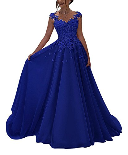 - Momabridal Long Tulle V Neck Applique Prom Dresses Double Strap Evening Party Formal Gowns Royal Blue 4