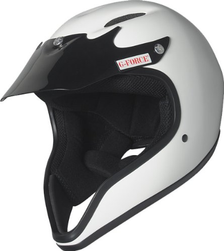 - G-Force 3012LRGWH Pro Pit White Large Full Face Racing Helmet with Low Chinbar