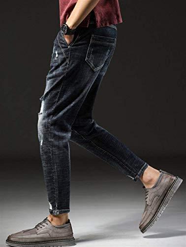Slim Young Estivi Ufige Jeans Pantaloni Men Blau Modern Fori Traspiranti Classiche Ragazzi Cher Re Estate Con T84PT