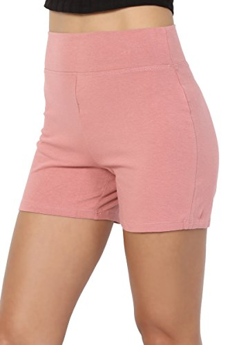 TheMogan Women's Cotton Span High Waist Under Short Yoga Leggings Dusty Rose L